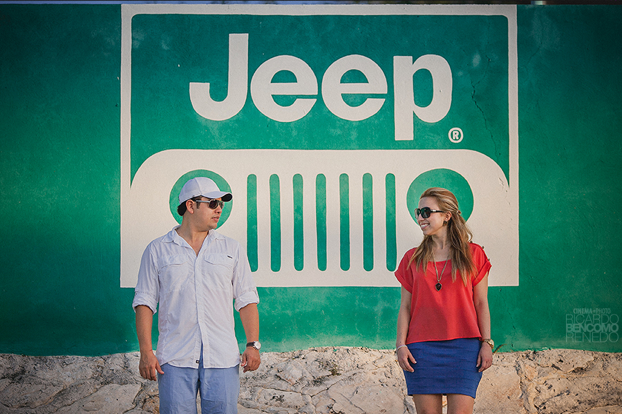 pareja novios jeep couple wedding boda sesion casual fotógrafo campeche